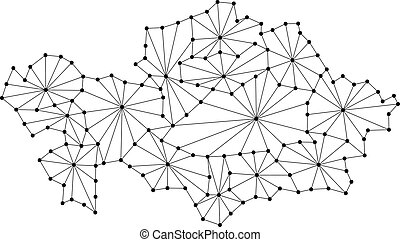 Kazakhstan map of polygonal mosaic lines network, rays and dots vector illustration.