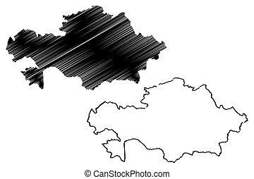 Kazakhstan map vector illustration, scribble sketch...