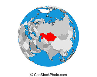 Kazakhstan on 3D globe isolated