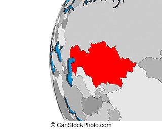Kazakhstan on 3D globe
