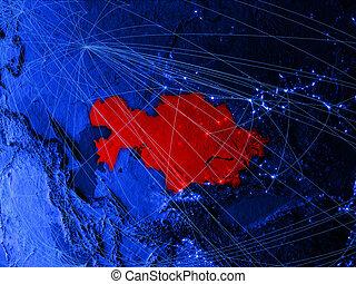Kazakhstan on blue blue digital map