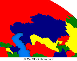 Kazakhstan on colorful 3D globe