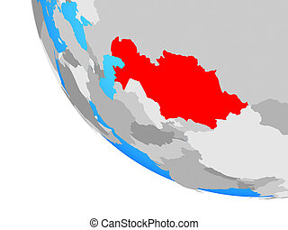 Kazakhstan on globe