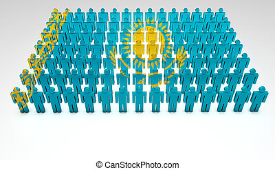 Parade of 3d people forming a top view of Kazakhstan flag. With copyspace.