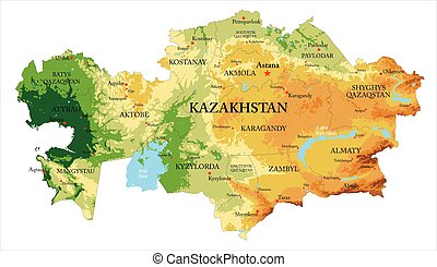 Highly detailed physical map of Kazakhstan, in vector format, with all the relief forms and big cities