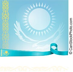 kazakhstan ribbon flag on background