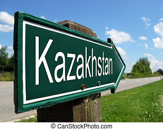 Kazakhstan signpost along a rural road
