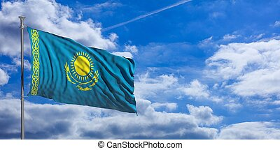 Kazakhstan waving flag on blue sky. 3d illustration