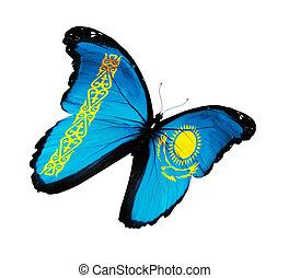 Kazakhstani flag butterfly flying, isolated on white background