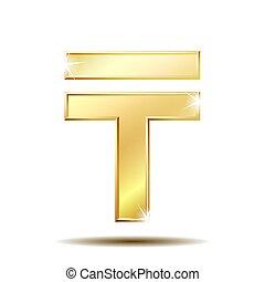 Kazakhstani tenge currency symbol, golden money sign, vector illustration isolated on white background