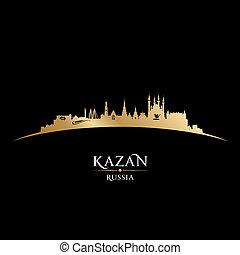 kazan, ロシア, 都市 スカイライン, シルエット, 黒い背景
