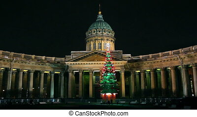 Kazan Cathedral and Christmas tree at night in St. Petersburg