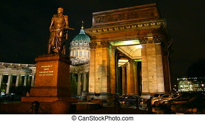 Kazan Cathedral at night in St. Petersburg