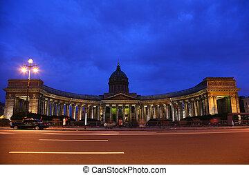 Kazan cathedral in St.-Petersburg at night