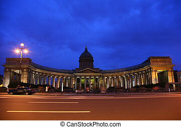 Kazan cathedral in St.-Petersburg at night