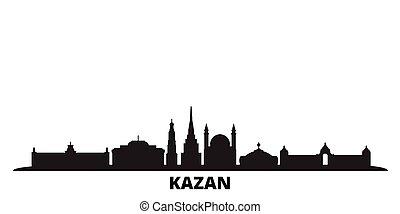 kazan, ciudad, aislado, negro, viaje, contorno, rusia,...