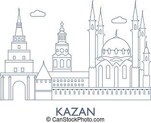 kazan., ciudad de edificios, famoso, más
