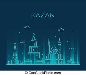 kazan, grande, tatarstan, contorno, vector, república, rusia