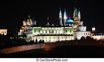 kazan kremlin and kul sharif mosque at night in russia