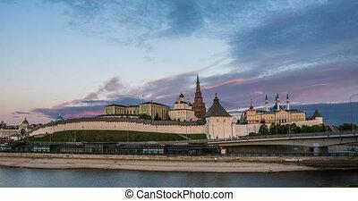 Kazan Kremlin and Kul Shariff Mosque, sunset time with...