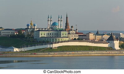 kazan kremlin with reflection in river at sunset - russia, timelapse