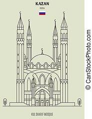 kazan, mezquita, sharif, russia., kul, señal, icono
