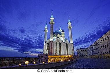 kazan, moschee, sharif, nacht, beleuchtung, qol, russland