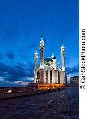 kazan, moschee, sharif, nacht, russia., qol, ansicht
