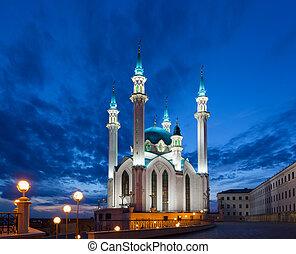 kazan, moschee, sharif, qol, nacht, russland, ansicht