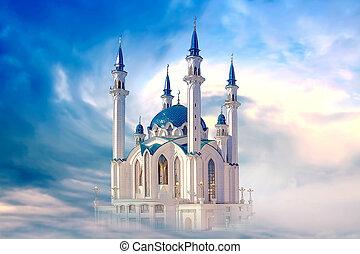 Kazan, mosque Qolsharif. Collage - Restored medieval Moslem ...
