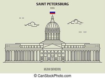 kazan, russia., santo, señal, catedral, petersburg, icono