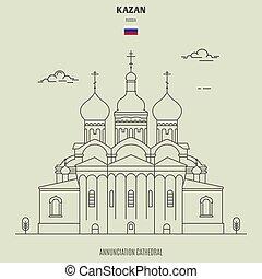 kazan, russia., señal, catedral, icono, annunciation