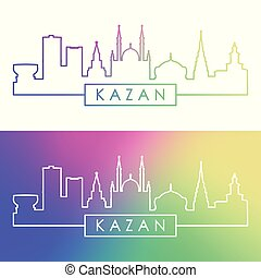 Kazan skyline. Colorful linear style.