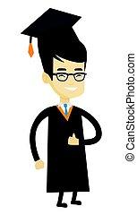 kciuk, abdykując, absolwent, wektor, illustration.