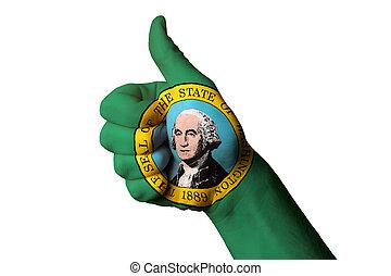 kciuk, ach, waszyngton, do góry, na, stan, doskonałość, bandera, gest