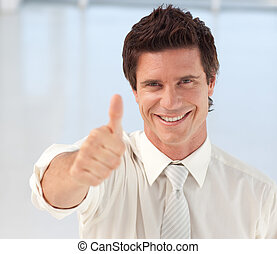 kciuk do góry, aparat fotograficzny, biznesmen