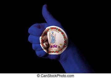 kciuk do góry, stan, na, virginia bandera, achie, doskonałość, gest