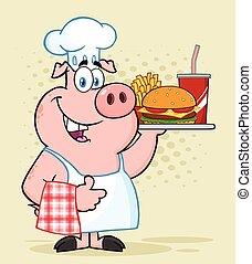 kciuk, jadło, litera, do góry, mocny, świnia, mistrz kucharski, udzielanie, dzierżawa, maskotka, taca, rysunek, szczęśliwy