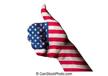 kciuk, krajowy, achiev, do góry, bandera, doskonałość, ameryka, gest