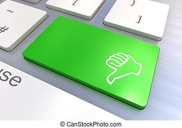 kciuk, ręka, komputerowy klucz, klawiatura, gesturing