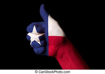 kciuk, stan, na, do góry, bandera, doskonałość, achievem, texas, gest