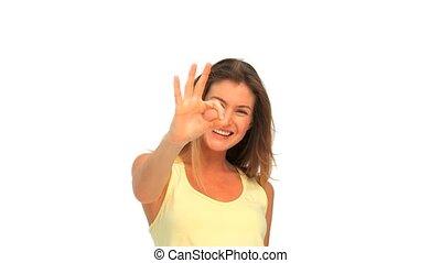 kciuki do góry, śliczny, kobieta