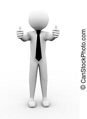 kciuki, gest, 3d, człowiek, do góry, ilustracja