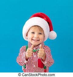 kciuki, portret, dziecko, szczęśliwy, do góry, pokaz