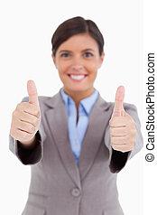 kciuki, zamknięcie, dany, samica, przedsiębiorca, do góry