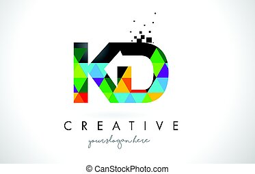 KD K D Letter Logo with Colorful Triangles Texture Design Vector.
