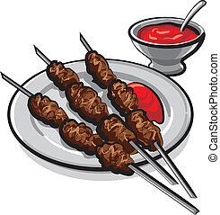 keabab, con, salsa