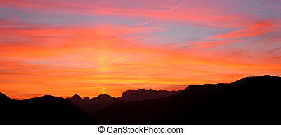 Kearny sunset 1 - Orange and blue with mountain silhouette