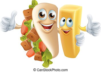 Kebab and Chip Mascots - Cartoon kebab and chip fries ...