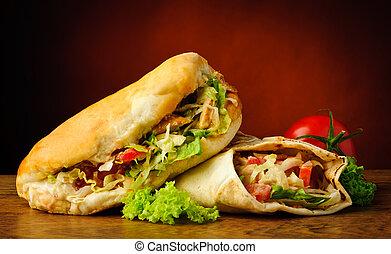 Kebab and shawarma - still life with turkish doner kebab and...